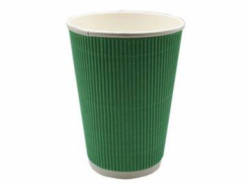 Стакан бумажный гофр. трехслойный зеленый 400 мл