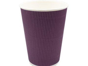 Стакан бумажный гофр. трехслойный фиолетовый 400 мл