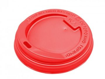 Крышка красная для бумажного стакана 350мл, d= 90мм