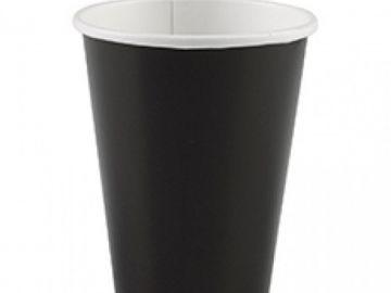 Стакан бумажный однослойный чёрный 350 мл