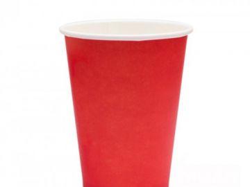 Стакан бумажный однослойный красный 400 мл